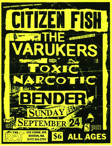 Citizen Fish, The Varukers, Toxic Narcotic - The Rat - September 24