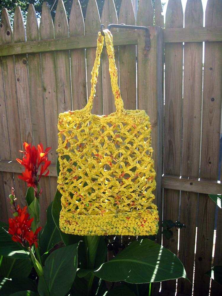 yellow plarn tote