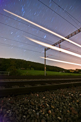 Star & Train Trails (heitere_fahne) Tags: blue light orange lightpainting train painting stars star trails trains trail startrails contrasty saturaded