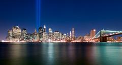 9/11 Tribute lights | NYC (Diego Tabango) Tags: new york city nyc newyorkcity longexposure travel water brooklyn river outdoors nikon cityscape nightscape manhattan towers 911 september eastriver wtc tribute nikkor lightroom 1735mm d700