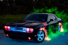Demon Car! (TxPilot) Tags: longexposure light lightpainting art night painting photography lights graffiti nikon long exposure paint led lap dodge lighttrails movinglights lightgraffiti rt challenger 2010 elwire lightpaint lightemittingdiode electroluminescentwire d700 dodgechallengerrt lightgraf lightartphotography