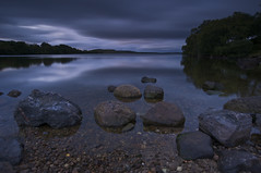 Painterly (Leathanach) Tags: trees water clouds reflections scotland highlands nikon rocks darkness loch 1835 d700 lochduntelchaig clanflickr