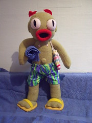 Swamp Monster (AngelaTiara) Tags: ocean sea summer vacation holiday sexy green feet beach monster swimming mouth bug giant relax toy scary eyes sand funny doll soft nipples open handmade sandals glasgow ooak babe tourist bum suprised creepy plush belly softie flip wierd button plushie flipflops flops shorts trunks creature sandcastles seamonster quirky fins shocked webbed creaturefromtheblacklagoon slimey aaargh scaly outie swampmonster angelatiara