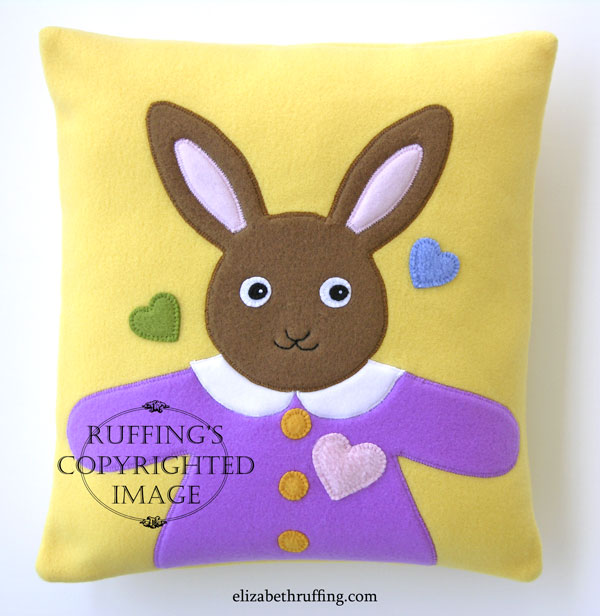 Hug Me! Bunny appliqued decorative throw pillow by Elizabeth Ruffing
