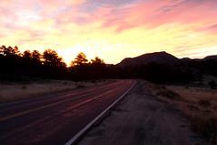 painted highway (JPutsch) Tags: red sky silhouette sunrise fire colorado rmnp rockymountainnationalpark sooc