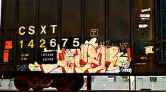 Cazer (stamped boxcar) (mightyquinninwky) Tags: railroad train graffiti tag graf tracks railway tags tagged stamp railcar rails buff boxcar graff graphiti freight stamped buffed csx trainart fr8 railart spraypaintart csxt reflectivetape freightcar boxcarart freightart cazer gonermad taggedboxcar paintedboxcar paintedrailcar taggedrailcar