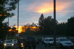 Sunset over the mall parking lot