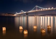 A Not Too Foggy Night (Kristin Repsher) Tags: sanfrancisco longexposure bridge usa night lights nikon baybridge bayarea sanfranciscobay d700 afsnikkor2470mmf28ed