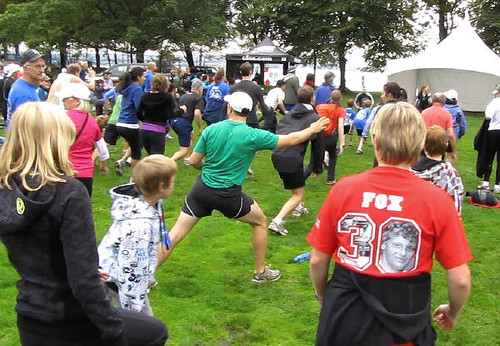 Workout before run. Vancouver's Terry Fox Run 2010 Re-ignites Marathon of Hope at 30th Anniversary in Stanley Park