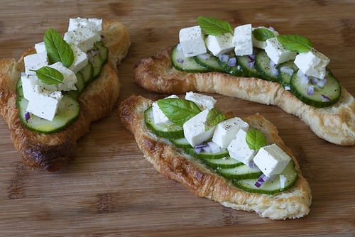Cucumber, Feta, and Mint Croissant Tartines