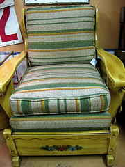 Vintage Striped and Wood Easy Chair