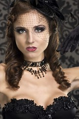 Rebecca 9/19 (Anthony Ryan Photography) Tags: beauty fashion necklace model glamour veil lace gloves corset brunette cleavage pinup hollywoodlighting veiledhat anthonyryanphotography