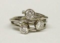 Diamond set circles style ring