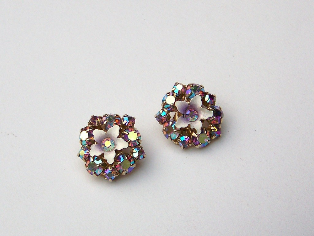 Vintage AB Rhinestone Clip On Earrings