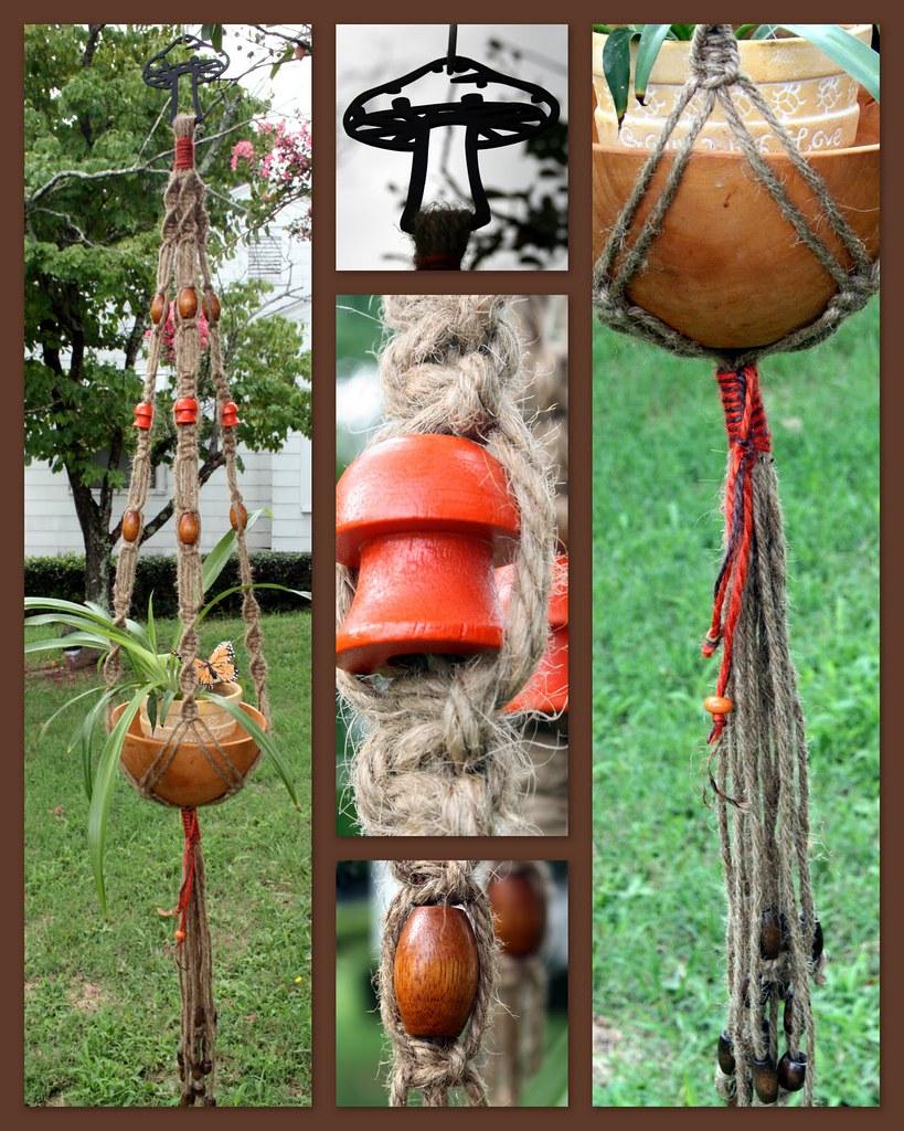 Vintage Shrooms Macrame Plant Hanger