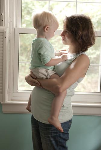 baby 2, 19 weeks, wearing jalie top
