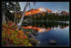 High Country Autumn (Michael Bollino) Tags: park autumn friends sunset mountain lake fall colors oregon season volcano nikon northwest tokina foliage mount alpine mtjefferson jeffersonpark jefferson wilderness huckleberry blueribbonwinner rubyphotographer