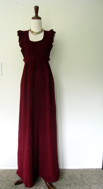 Merlot Velvet Ruffled Dress, 1970's