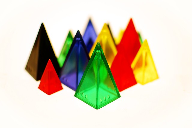 Colorful pyramidal pieces