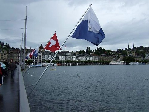 view of Lake Lucerne and flags