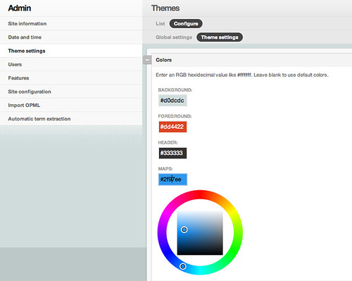 Setting the map color in the admin interface
