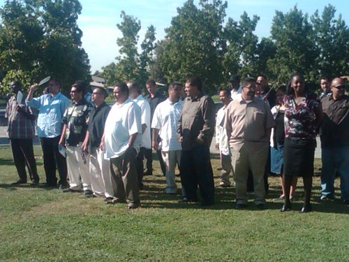 Members of Victory Outreach, a Christian men's group, in Stockton to support Vota Tus Valores