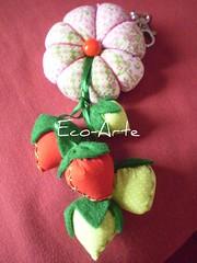 Chaveiro oito pétalas...encomenda (eco-arte) Tags: verde rosa vermelho fuxico morango locksmith maça chaveiro retalho reaproveitamento chaveiroflor rosaeverde floroitopétalas