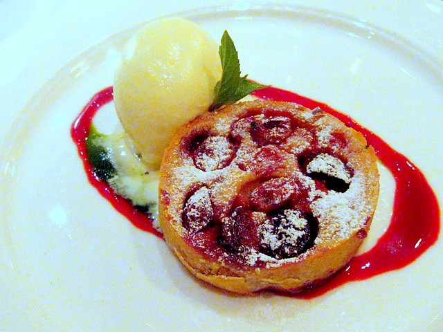 "Warm Rhubarb Crostata with Spiced Ricotta Gelato and Pine Nut ""Crocante"""