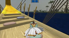 Meritaten relaxes on board the royal barge at Amarna (Akhetaten) (mharrsch) Tags: boat ancient ship egypt barge 18thdynasty nefertiti akhenaten virtualworld meritaten amarna virtualenvironment mharrsch akhetaten heritagekey