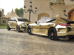 When the Gold faces the Gold .. ;) (AD Royalty .. In UK) Tags: from uk swansea gold dubai view you photos or uae ad porsche everyone audi abu dhabi       panamera q7         10102010