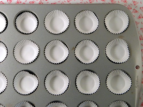 Mini Muffin Pan Lined for Making Peanut Butter Cups
