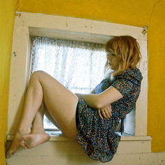 (yyellowbird) Tags: woman house abandoned window girl beautiful yellow wall square illinois cari dekalb