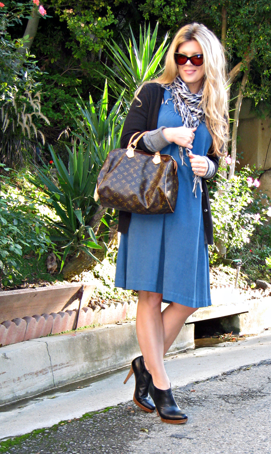 vintage shift dress with ankle boots and cardigan Louis vuitton speedy and cat eye sunglasses