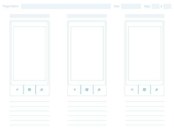 Windows Phone 7 Wireframe Paper Sketching Template