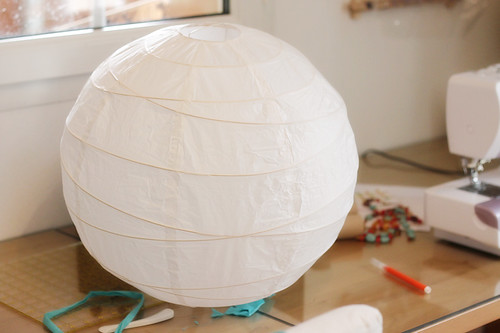 Start with a plain white paper lantern