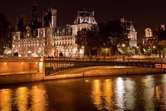Hotel de Ville, Paris (seryani) Tags: city paris france reflection water rio seine reflections river town europa europe hoteldeville cityhall reflejo townhall francia nocturne sena nocturnes noctambule