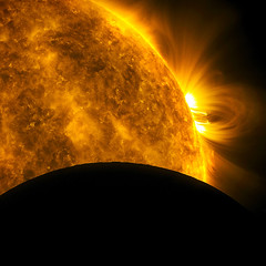 The Sun and the Moon (Lights In The Dark) Tags: sun moon space nasa flare astronomy aia sdo