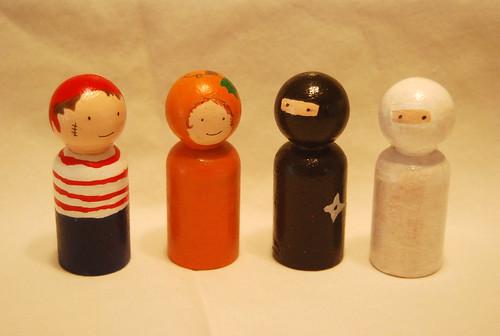 Pirate, Pumpkin, Ninja and Mummy Dolls