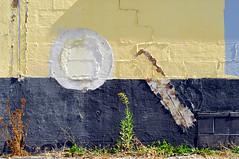 Indy#4943_Copy (Single-Tooth Productions) Tags: city urban brown white abstract black building green colors yellow architecture composition circle 50mm nikon architecturaldetail decay indianapolis urbandecay gray buildingdetail shapes indiana minimal minimalism nikkor minimalistic decaying rectangles concreteblock nikond200 colorblocks neside nikkor50mmf18daf exteriorwall colorcomposition paintedconcreteblock exteriorwallabstraction somethingwasoncethere