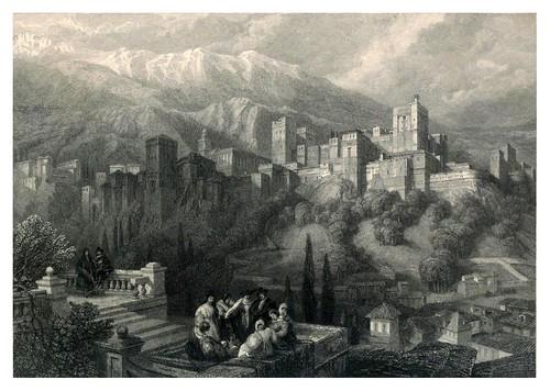 002-La Alhambra vista desde el Albaycin-Tourist in Spain-Granada-1835-David Roberts