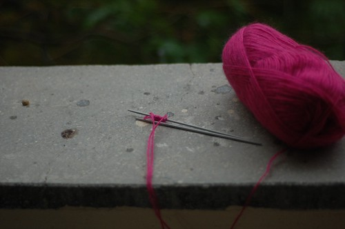 knitting in the rain