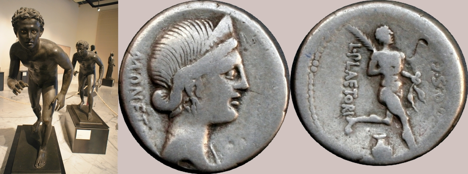 71BC 396/1 coin of Plaetoria athletes series, with two bronze athletes from the Villa of the Papyri Herculaneum