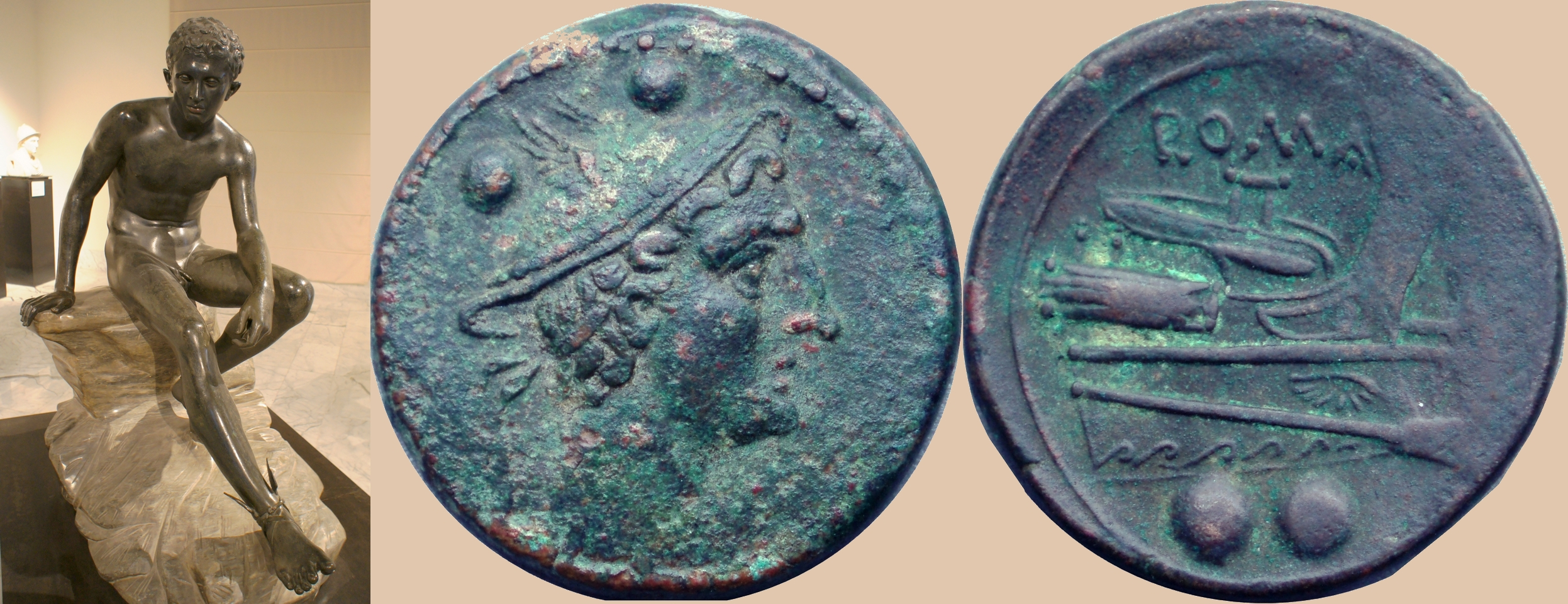 B3 97/6a coin of Luceria with Mercury and prow, alongside statue of the Greek God Hermes or Roman Mercury resting