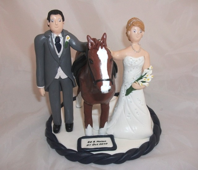 Bride And Groom With Their Horse Wedding Cake Toppers