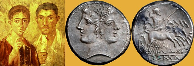 42/1 didrachm of Sicily 215BC, grain-basket of Rome, with an ear of corn, and portrait of the  Bread Baker Terentius Neo and his wife, fresco from Pompeii