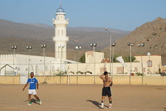 Football at the end of a hot day in Oman