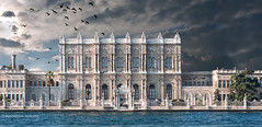 Dolmabahe Palace (marianna a.) Tags: cruise sea sky white storm detail building water birds architecture facade turkey interesting rich dramatic istanbul panasonic sultan ottoman marble chateau ornamental bosphorus wealth dolmabahepalace oppulence explored lumixg1 mariannaarmata