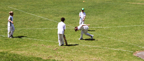 Kids playing cricket, day one