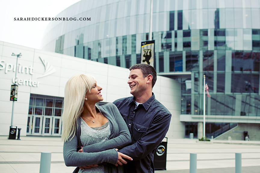 Kansas City Power and Light District engagement photos