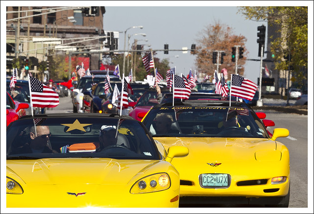 Yellow Patriotic Corvettes